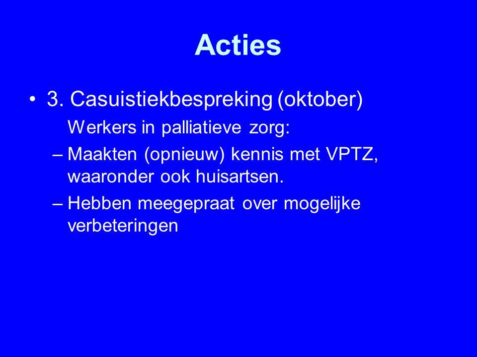Acties 3. Casuistiekbespreking (oktober) Werkers in palliatieve zorg: