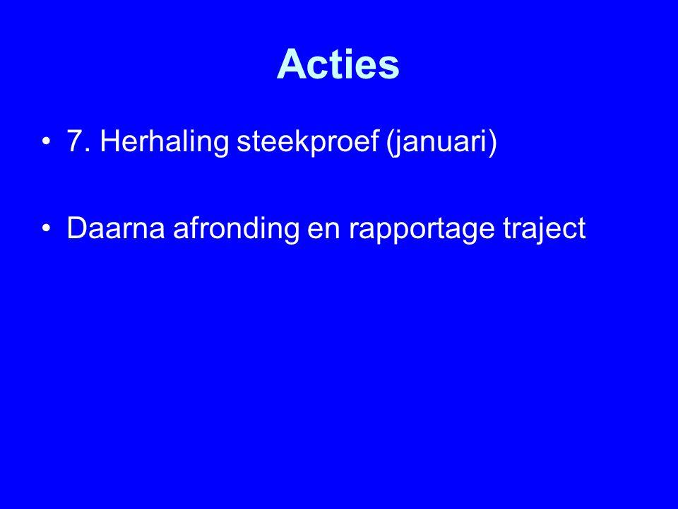 Acties 7. Herhaling steekproef (januari)