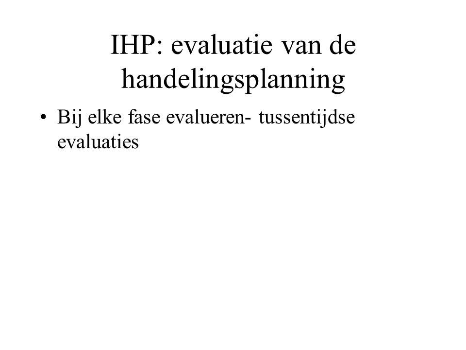 IHP: evaluatie van de handelingsplanning