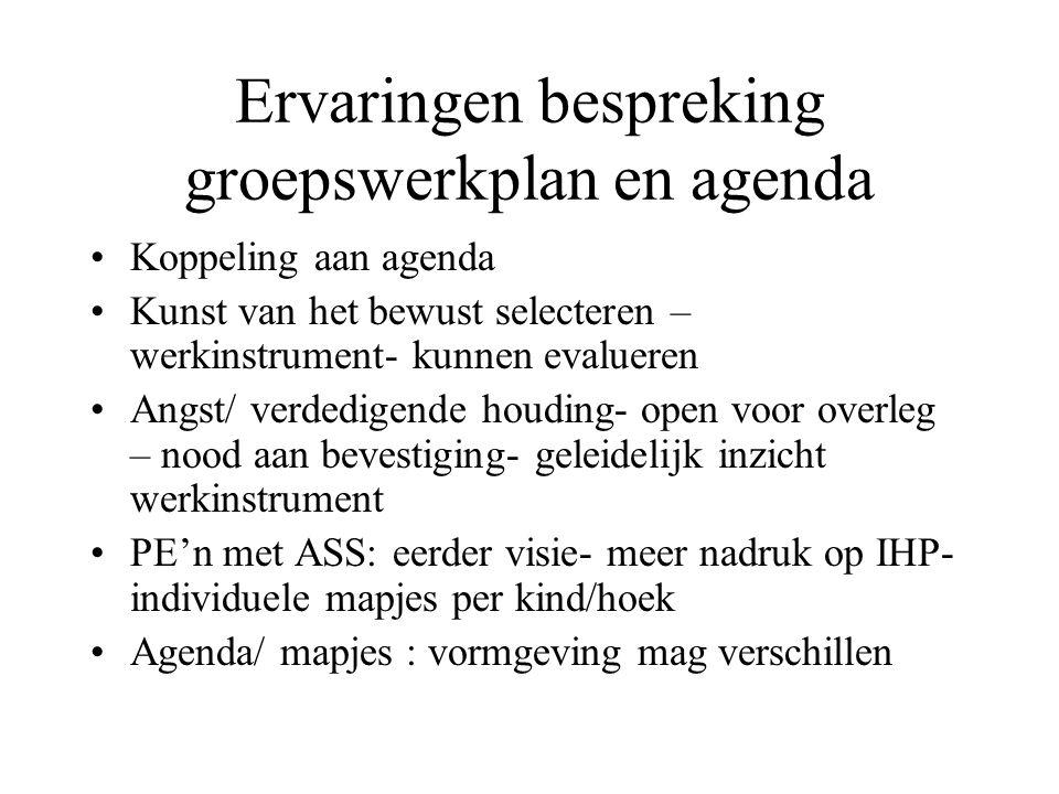 Ervaringen bespreking groepswerkplan en agenda