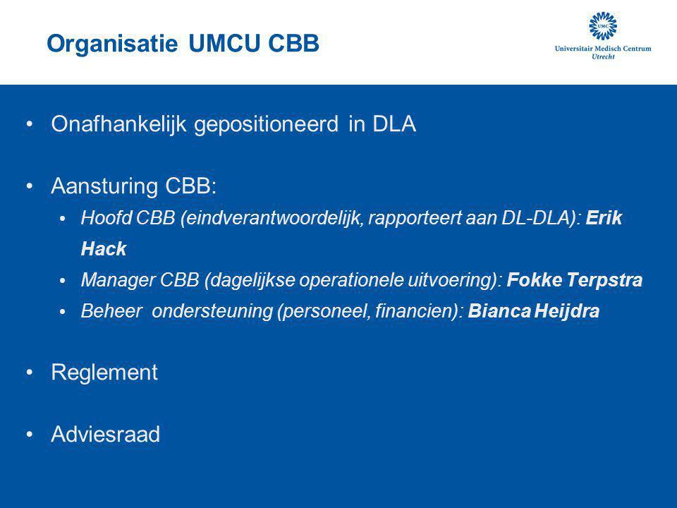 Organisatie UMCU CBB Onafhankelijk gepositioneerd in DLA