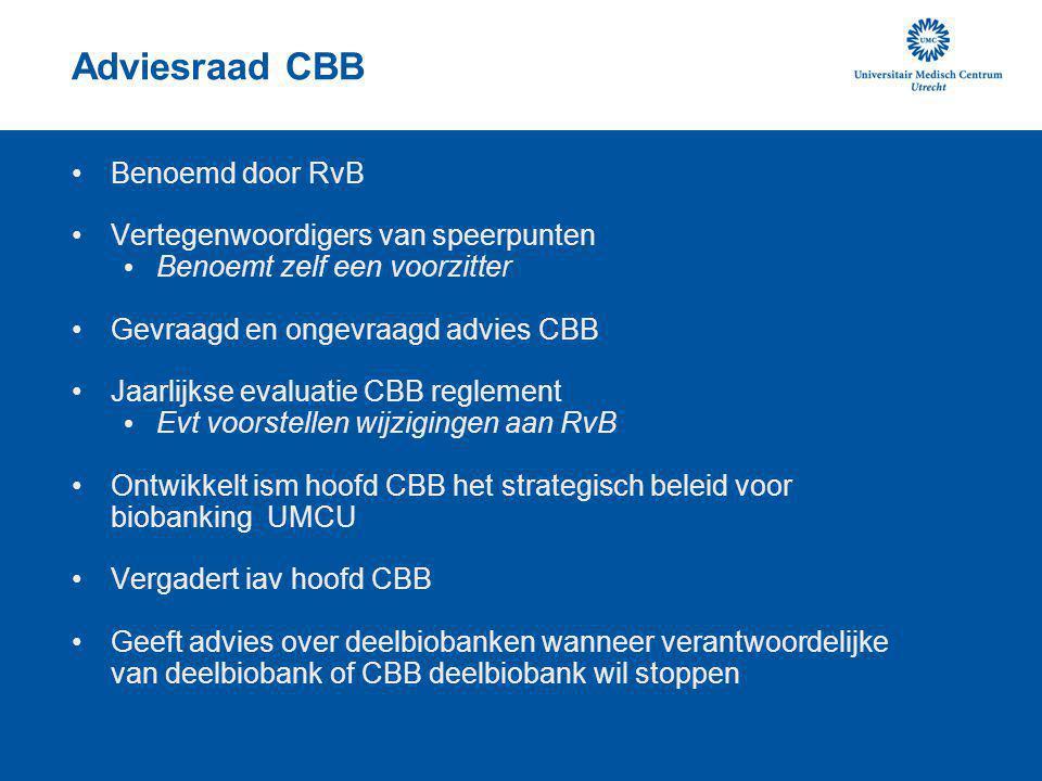 Adviesraad CBB Benoemd door RvB Vertegenwoordigers van speerpunten