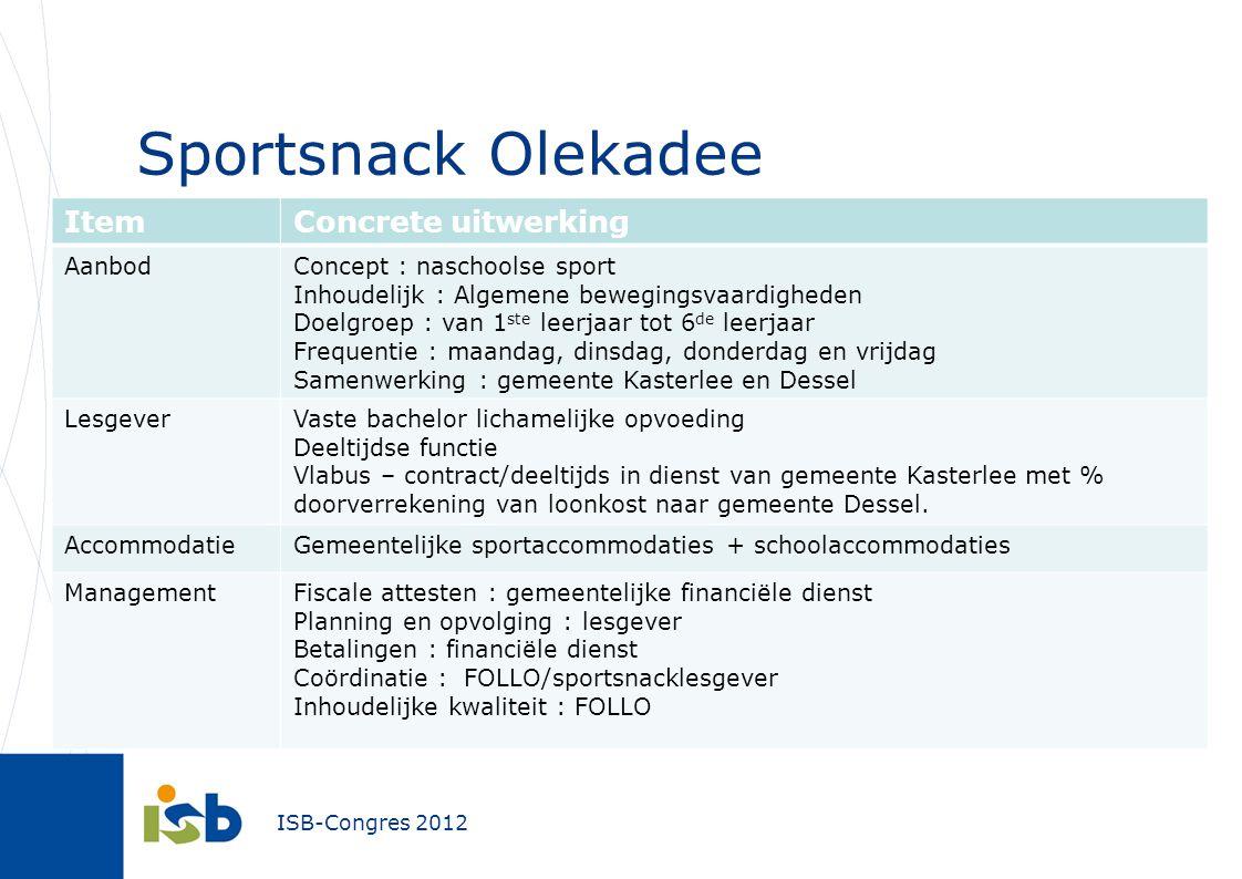 Sportsnack Olekadee Item Concrete uitwerking Aanbod