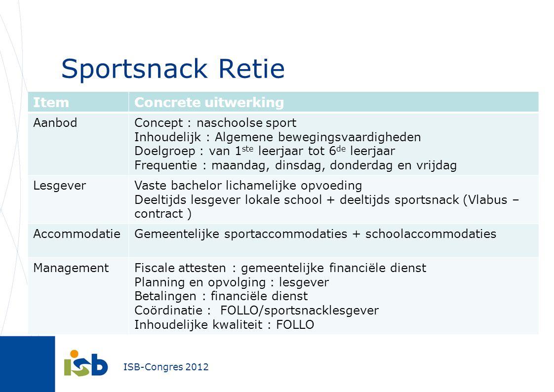 Sportsnack Retie Item Concrete uitwerking Aanbod