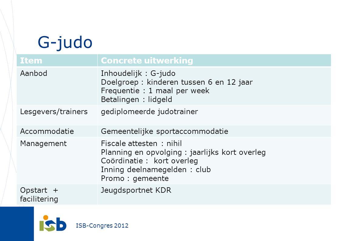 G-judo Item Concrete uitwerking Aanbod Inhoudelijk : G-judo