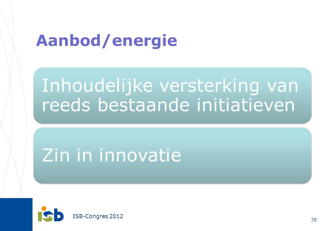 Aanbod/energie Inhoudelijke versterking van reeds bestaande initiatieven Zin in innovatie