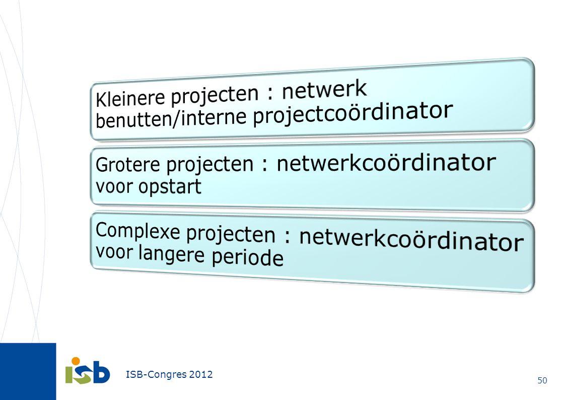 Kleinere projecten : netwerk benutten/interne projectcoördinator