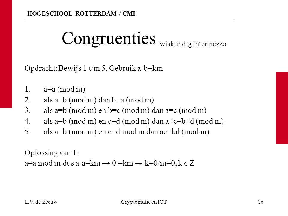 Congruenties wiskundig Intermezzo