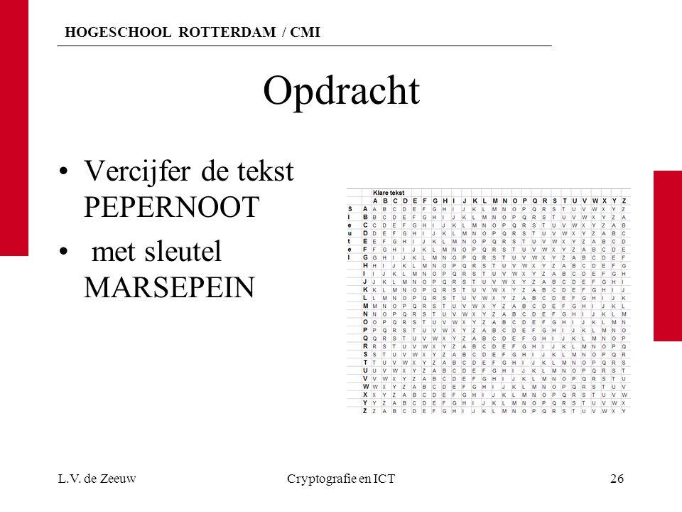 Opdracht Vercijfer de tekst PEPERNOOT met sleutel MARSEPEIN