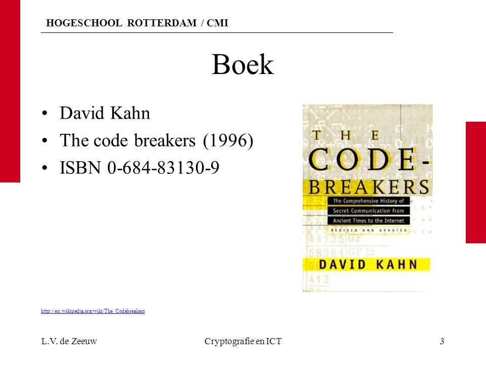 Boek David Kahn The code breakers (1996) ISBN 0-684-83130-9