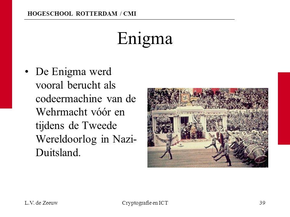 Enigma De Enigma werd vooral berucht als codeermachine van de Wehrmacht vóór en tijdens de Tweede Wereldoorlog in Nazi-Duitsland.