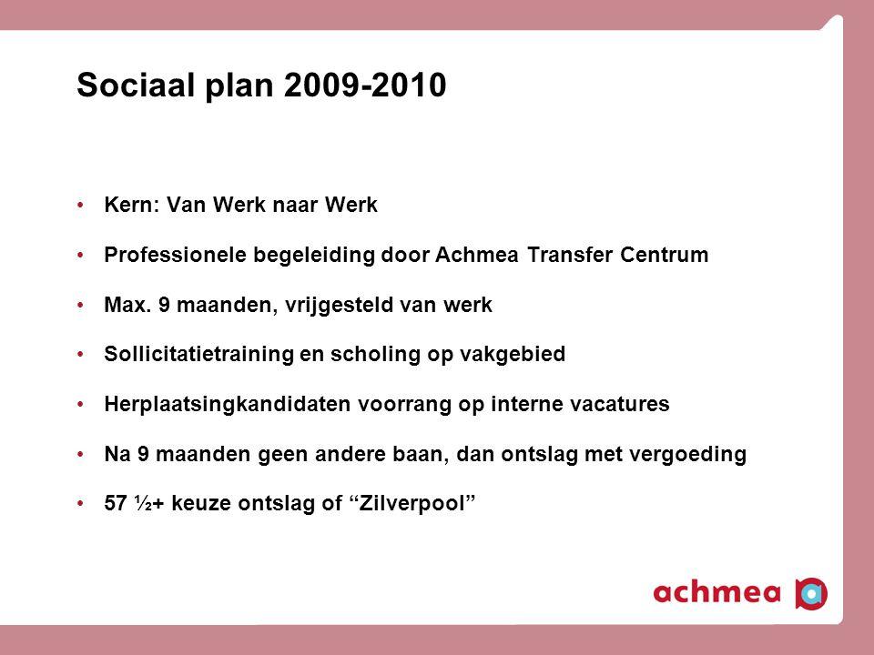 Sociaal plan 2009-2010 Kern: Van Werk naar Werk