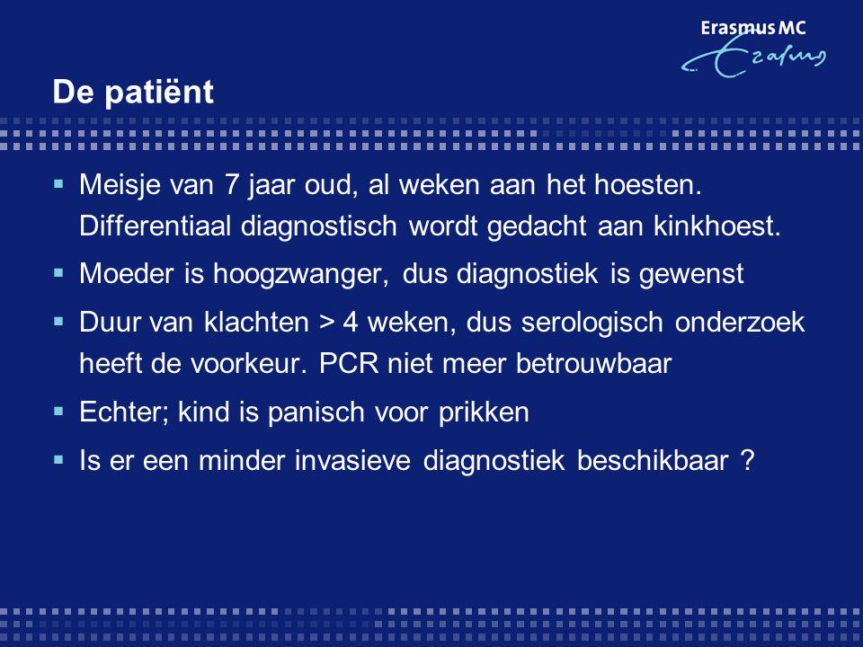 De patiënt Meisje van 7 jaar oud, al weken aan het hoesten. Differentiaal diagnostisch wordt gedacht aan kinkhoest.