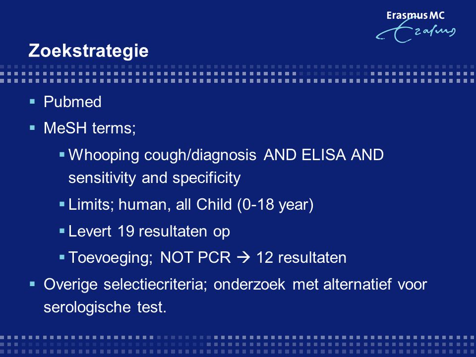 Zoekstrategie Pubmed MeSH terms;