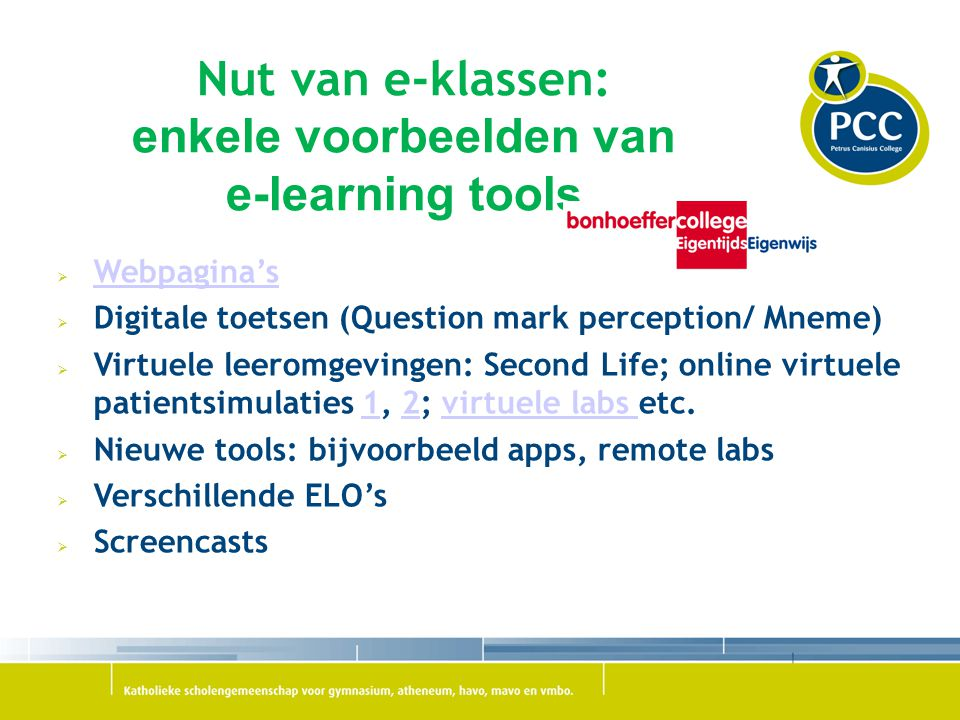 Nut van e-klassen: enkele voorbeelden van e-learning tools