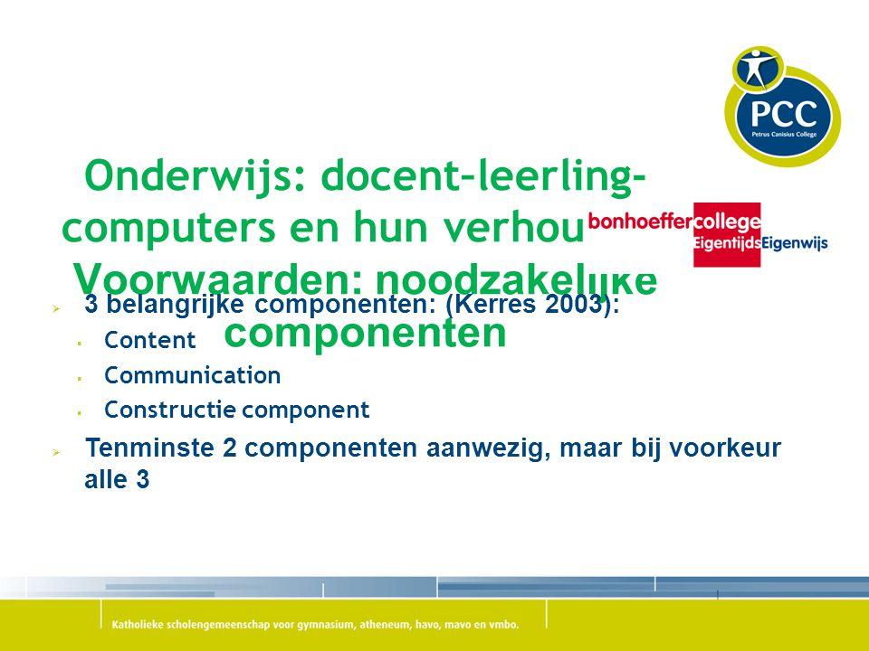 Onderwijs: docent–leerling-computers en hun verhouding Voorwaarden: noodzakelijke componenten