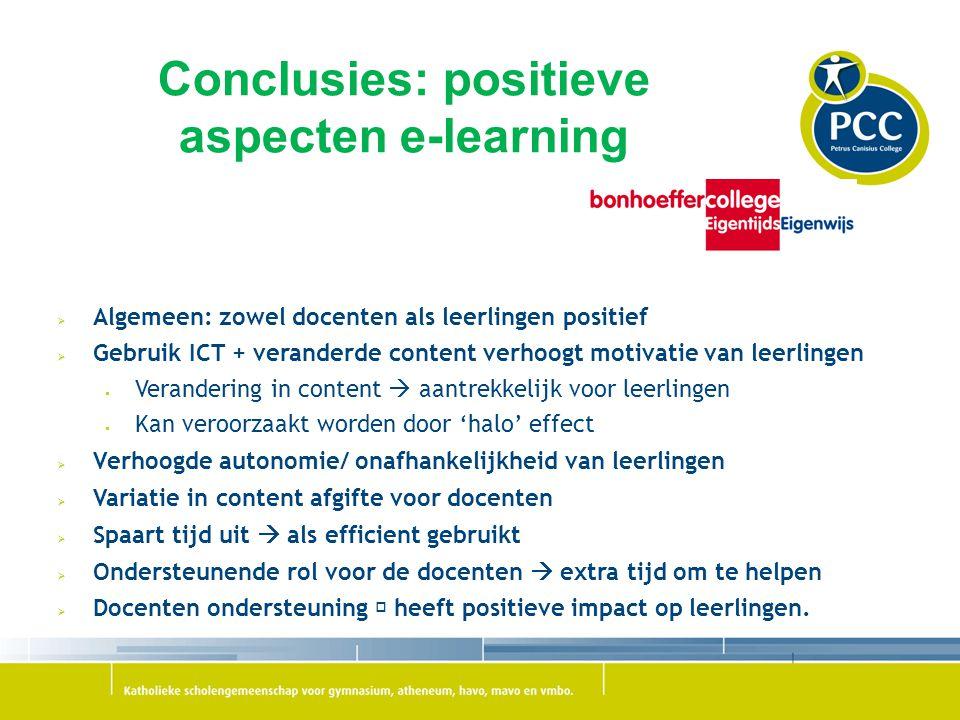Conclusies: positieve aspecten e-learning