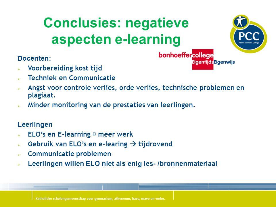 Conclusies: negatieve aspecten e-learning