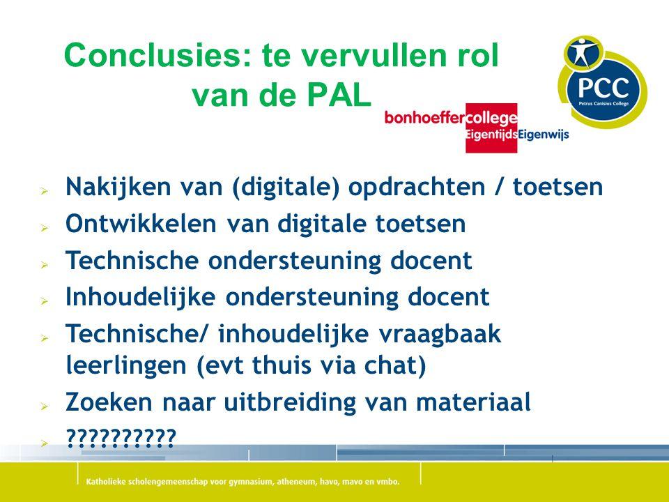 Conclusies: te vervullen rol van de PAL