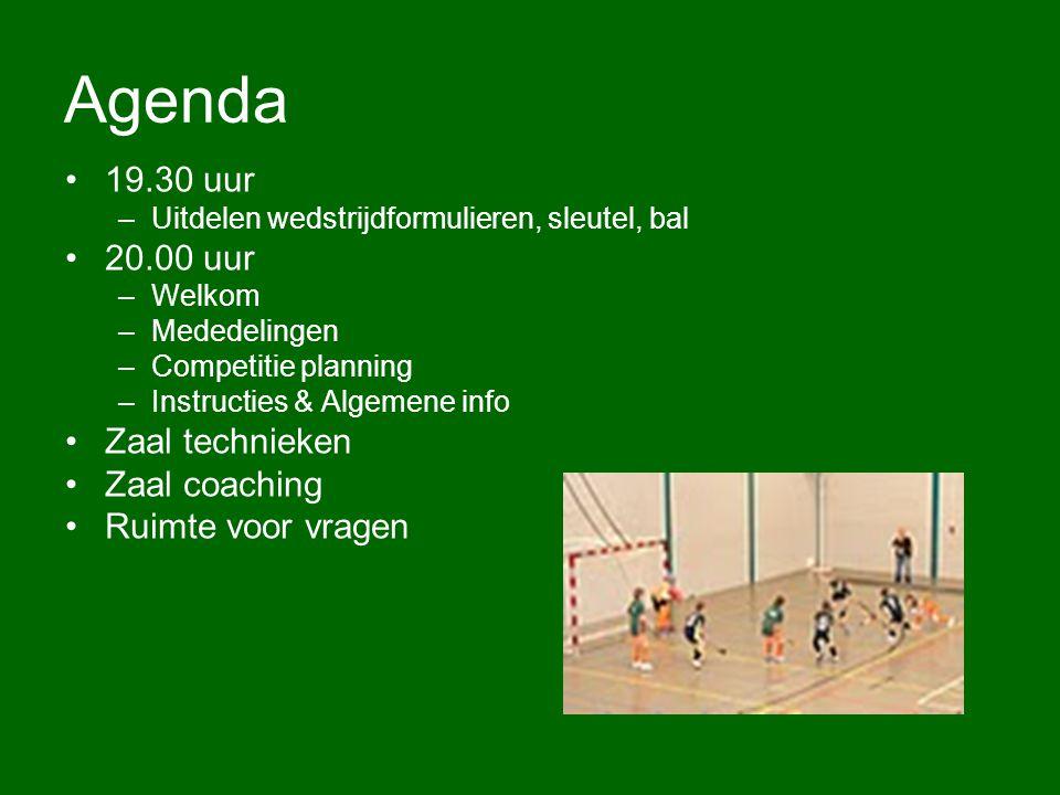 Agenda 19.30 uur 20.00 uur Zaal technieken Zaal coaching