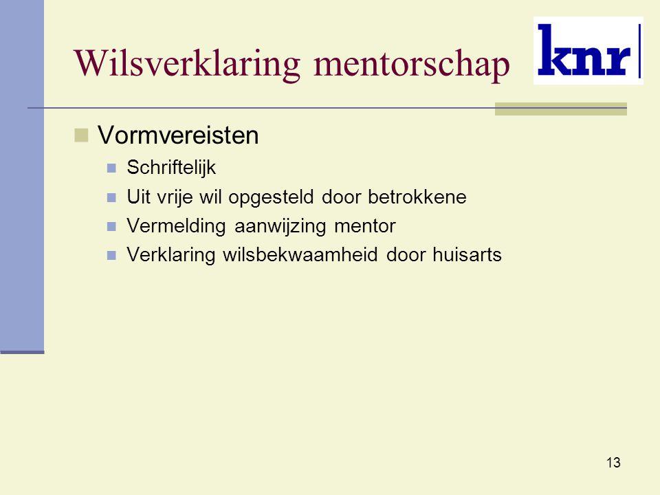 Wilsverklaring mentorschap