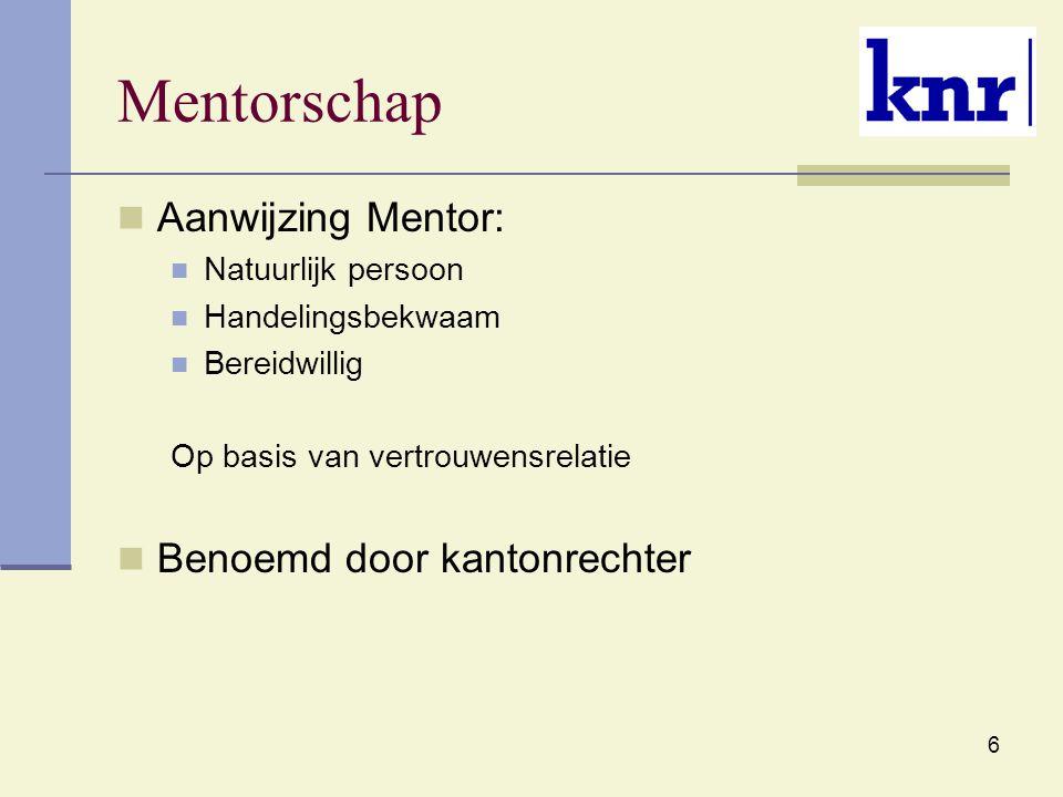 Mentorschap Aanwijzing Mentor: Benoemd door kantonrechter