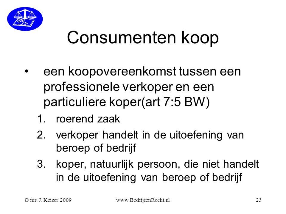 Consumenten koop een koopovereenkomst tussen een professionele verkoper en een particuliere koper(art 7:5 BW)
