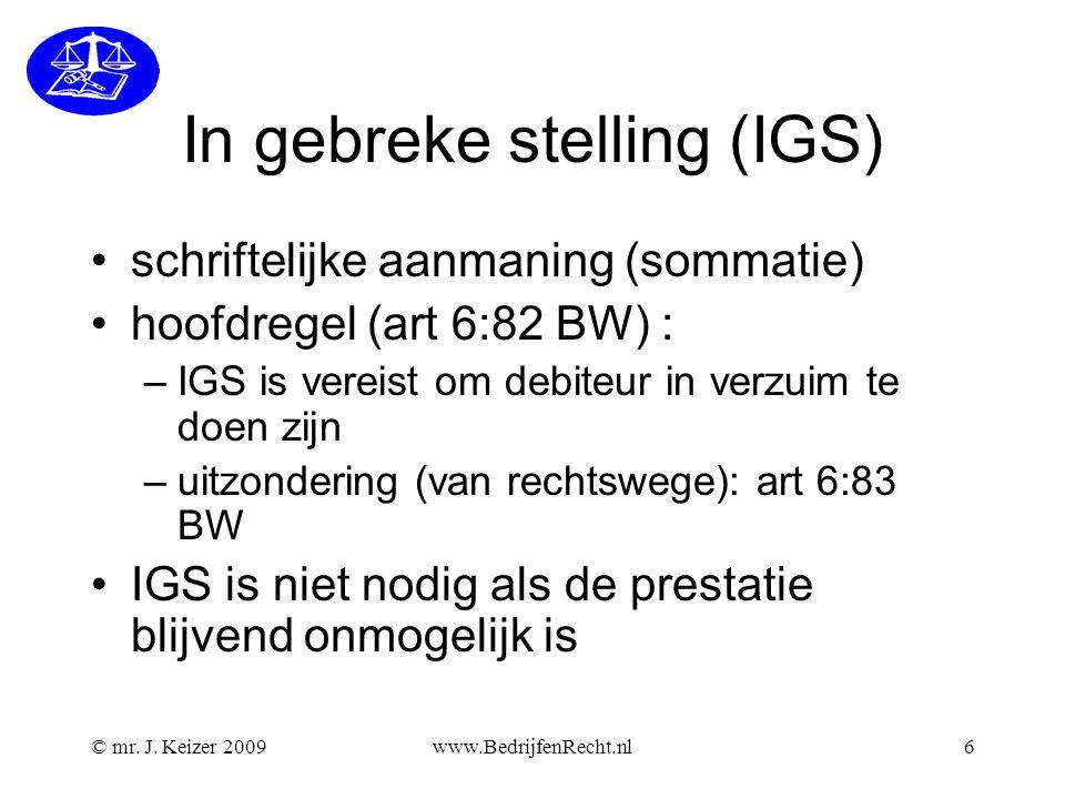 In gebreke stelling (IGS)