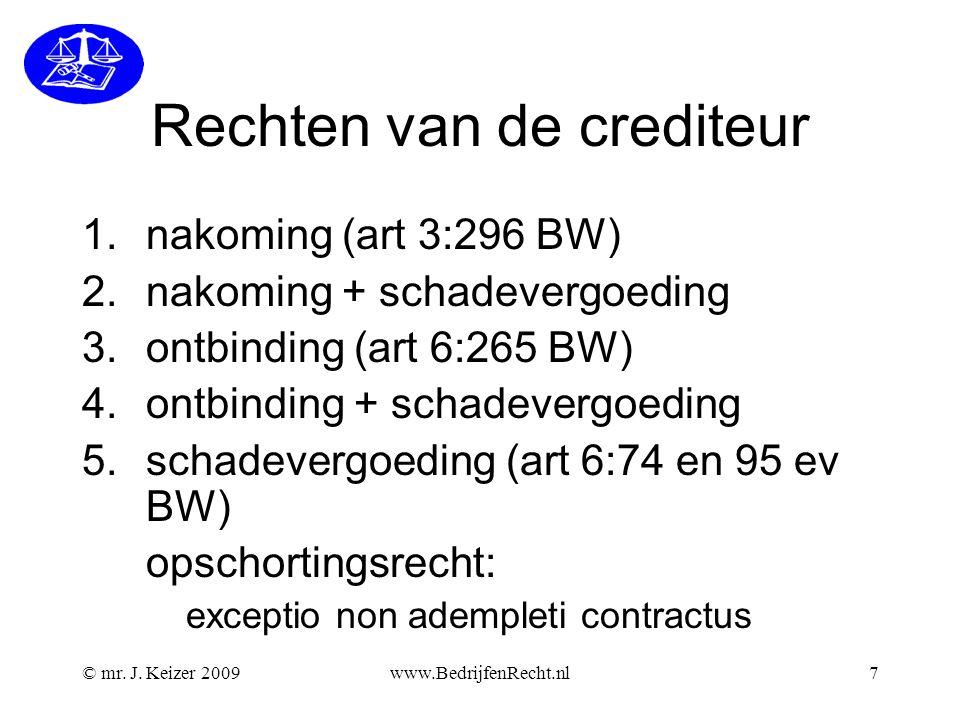 Rechten van de crediteur