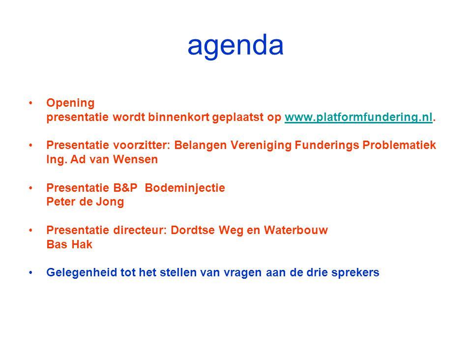 agenda Opening. presentatie wordt binnenkort geplaatst op www.platformfundering.nl.