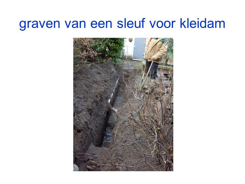 graven van een sleuf voor kleidam