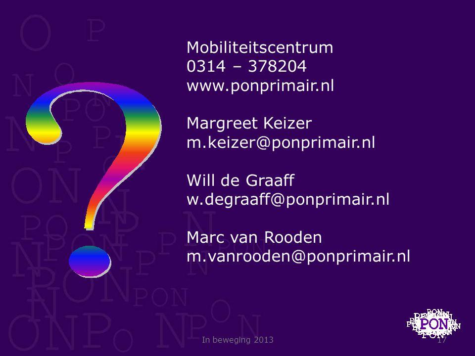 Mobiliteitscentrum 0314 – 378204 www.ponprimair.nl Margreet Keizer