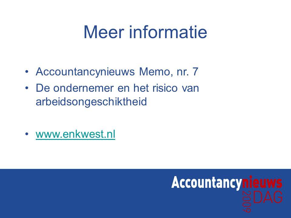 Meer informatie Accountancynieuws Memo, nr. 7
