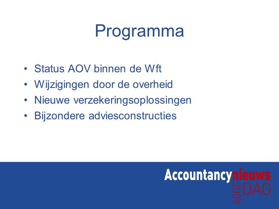 Programma Status AOV binnen de Wft Wijzigingen door de overheid