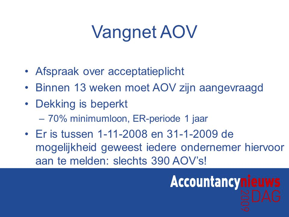 Vangnet AOV Afspraak over acceptatieplicht