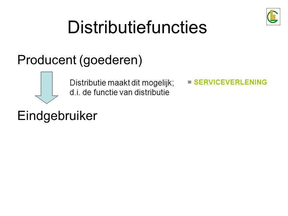 Distributiefuncties Producent (goederen) Eindgebruiker