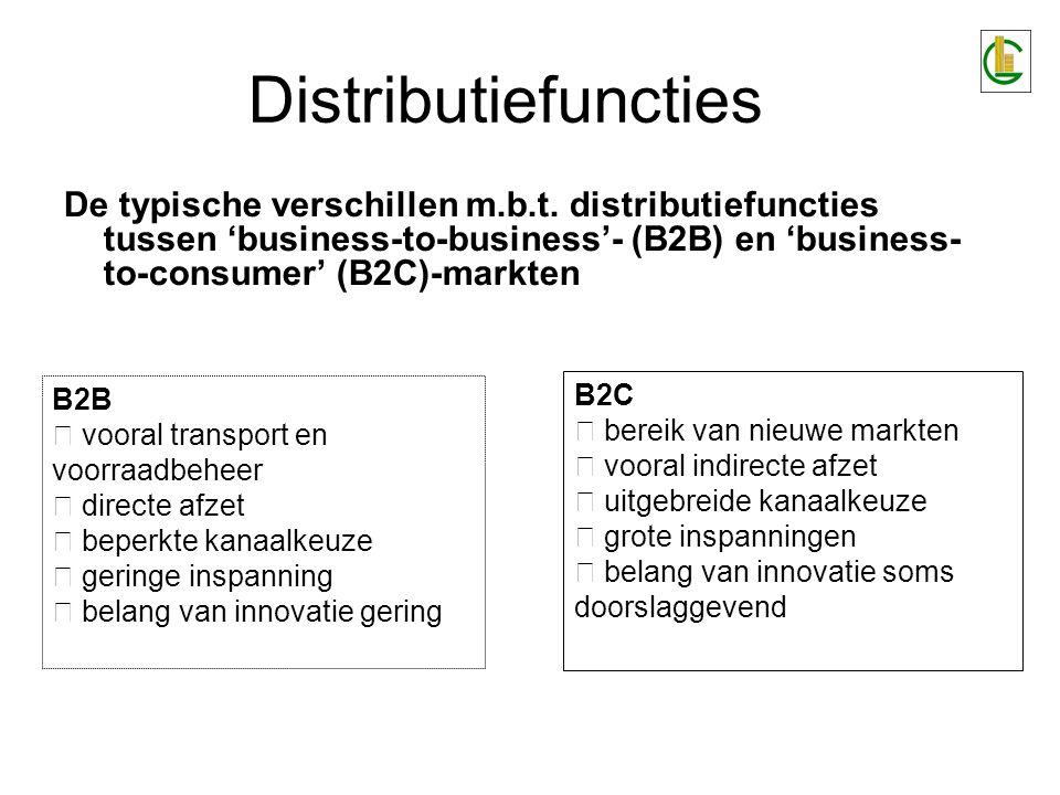 Distributiefuncties De typische verschillen m.b.t. distributiefuncties tussen 'business-to-business'- (B2B) en 'business-to-consumer' (B2C)-markten.