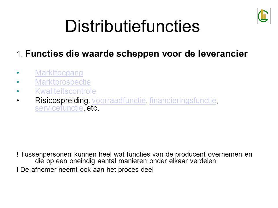 Distributiefuncties 1. Functies die waarde scheppen voor de leverancier. Markttoegang. Marktprospectie.