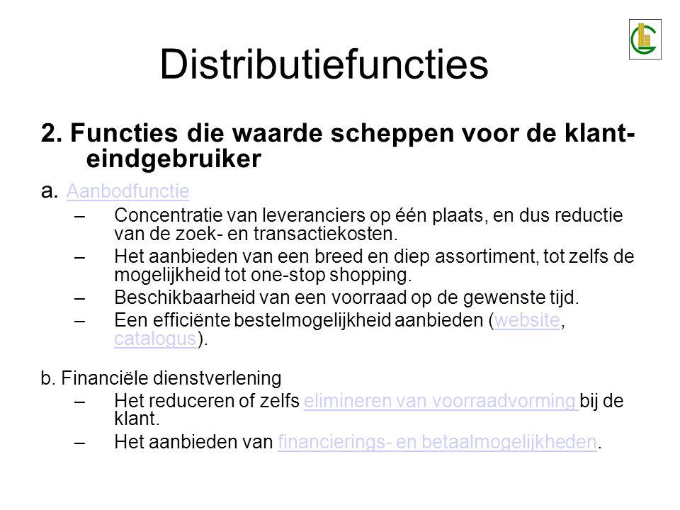 Distributiefuncties 2. Functies die waarde scheppen voor de klant- eindgebruiker. a. Aanbodfunctie.