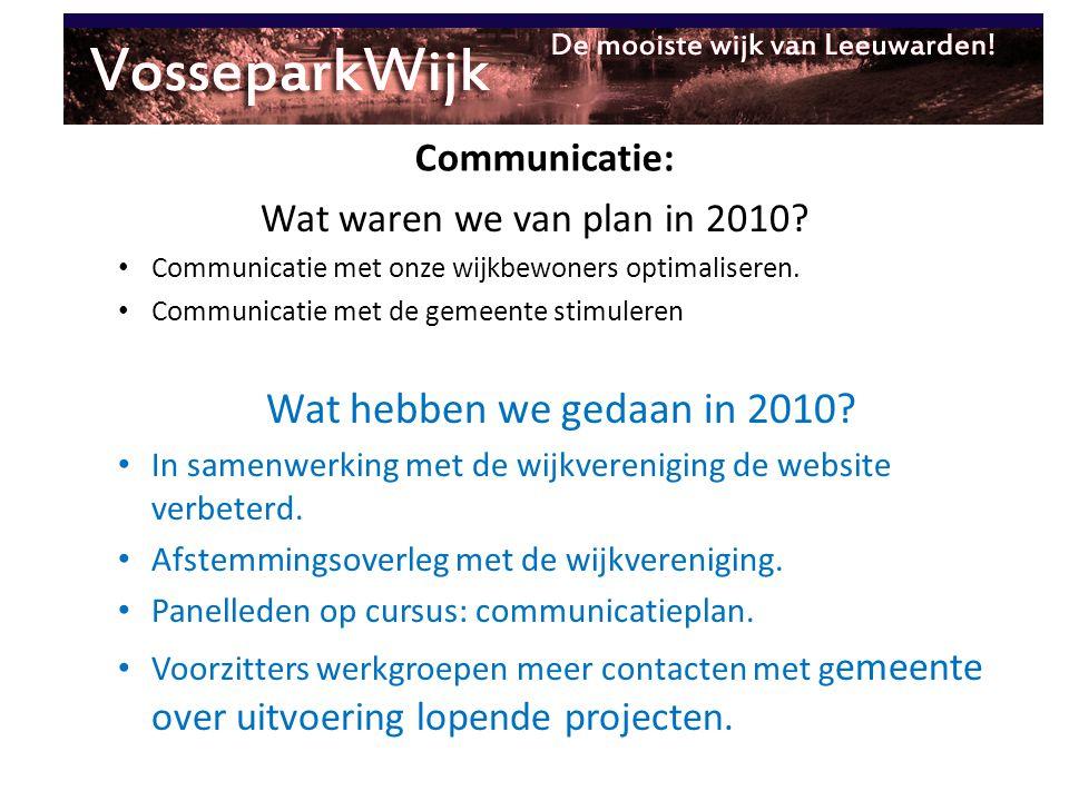 Wat hebben we gedaan in 2010 Communicatie: