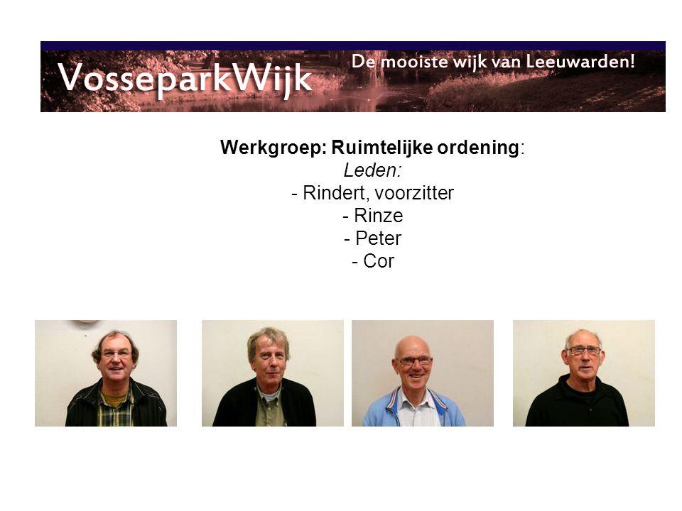 Werkgroep: Ruimtelijke ordening: Leden: - Rindert, voorzitter - Rinze - Peter - Cor