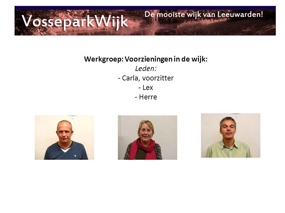 Werkgroep: Voorzieningen in de wijk: Leden: - Carla, voorzitter - Lex - Herre