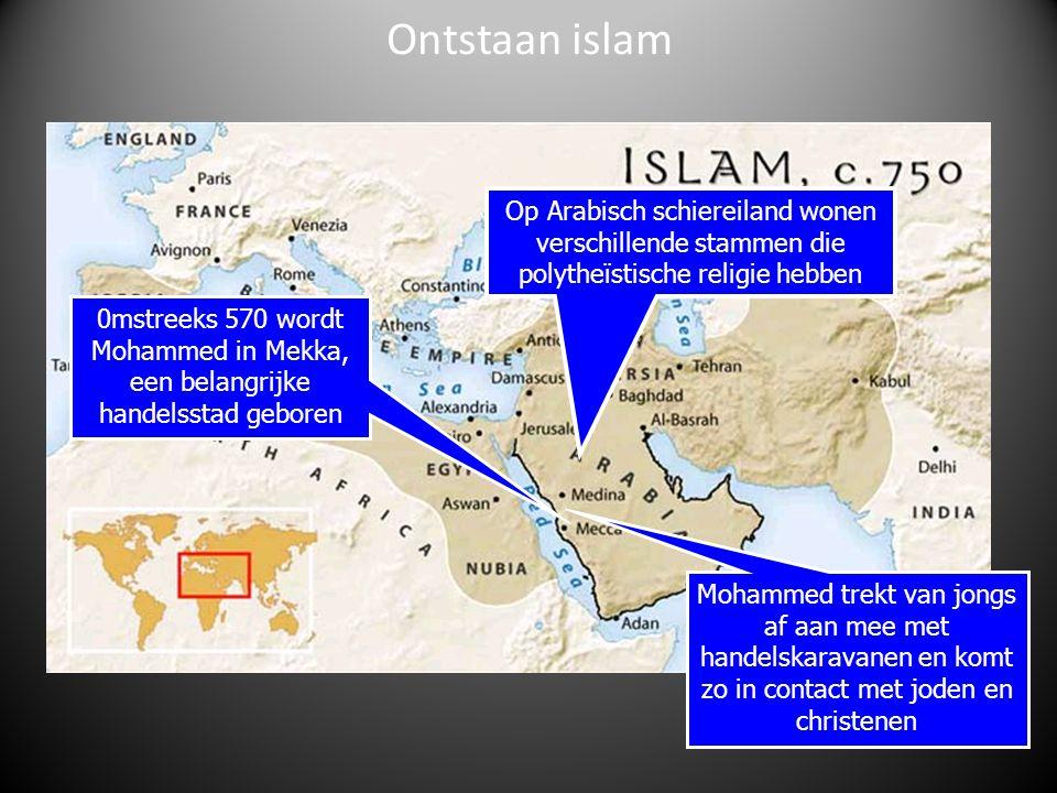 Ontstaan islam Op Arabisch schiereiland wonen verschillende stammen die polytheïstische religie hebben.