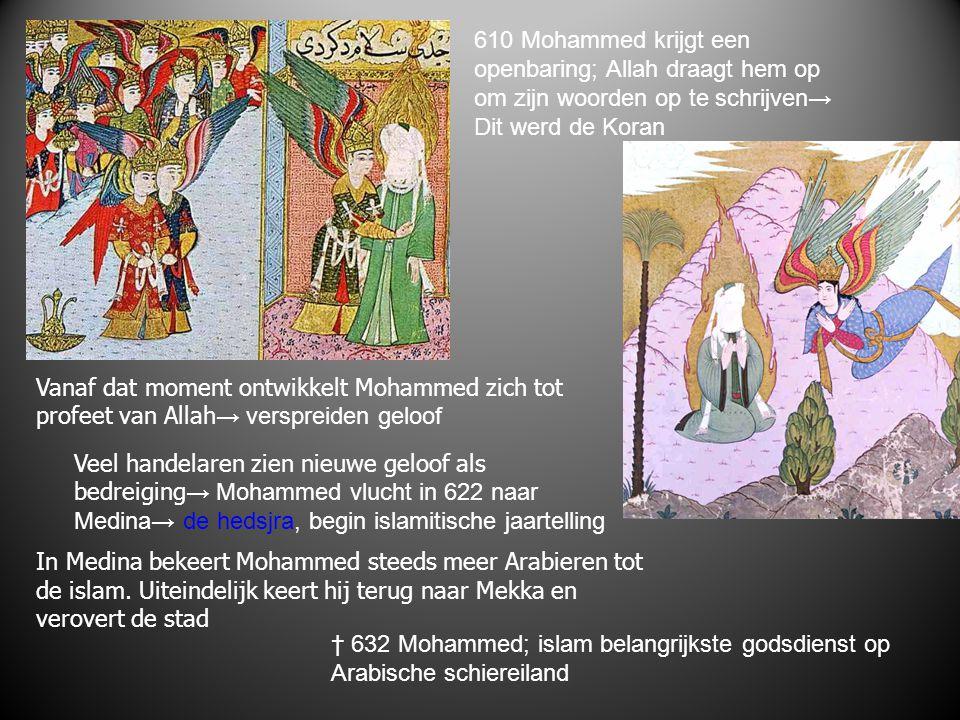 610 Mohammed krijgt een openbaring; Allah draagt hem op. om zijn woorden op te schrijven→ Dit werd de Koran.