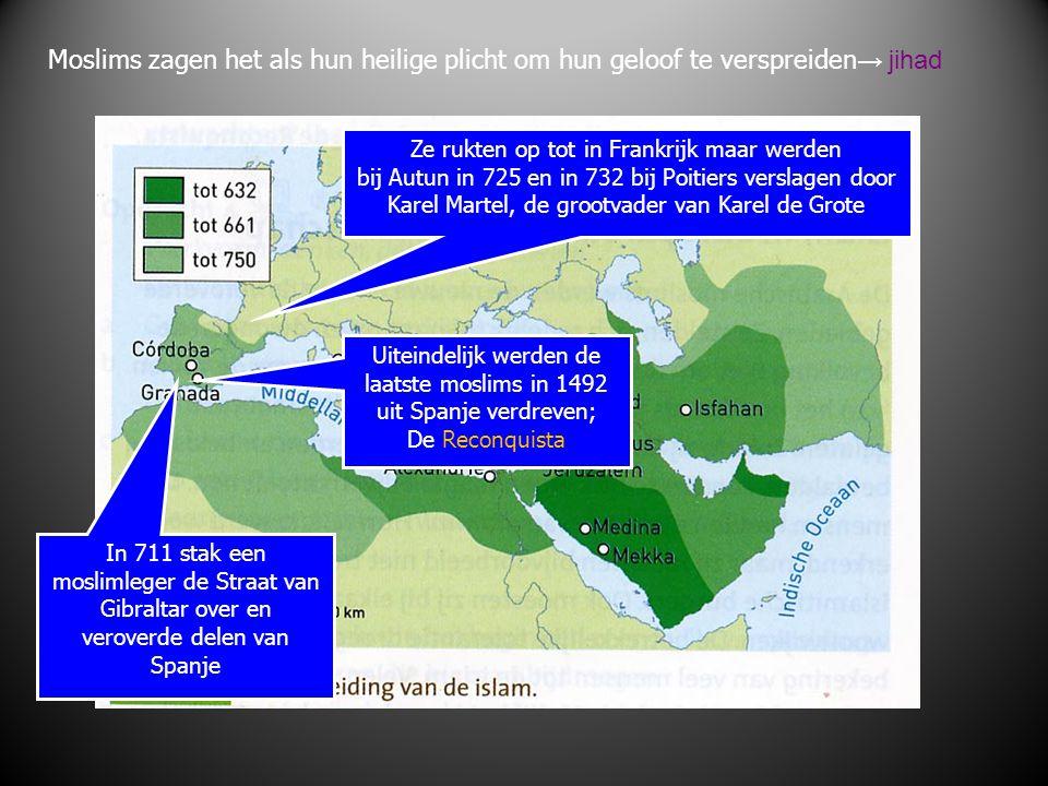 Moslims zagen het als hun heilige plicht om hun geloof te verspreiden→ jihad
