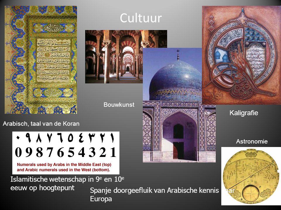 Cultuur Bouwkunst. Kaligrafie. Arabisch, taal van de Koran. Astronomie. Islamitische wetenschap in 9e en 10e eeuw op hoogtepunt.