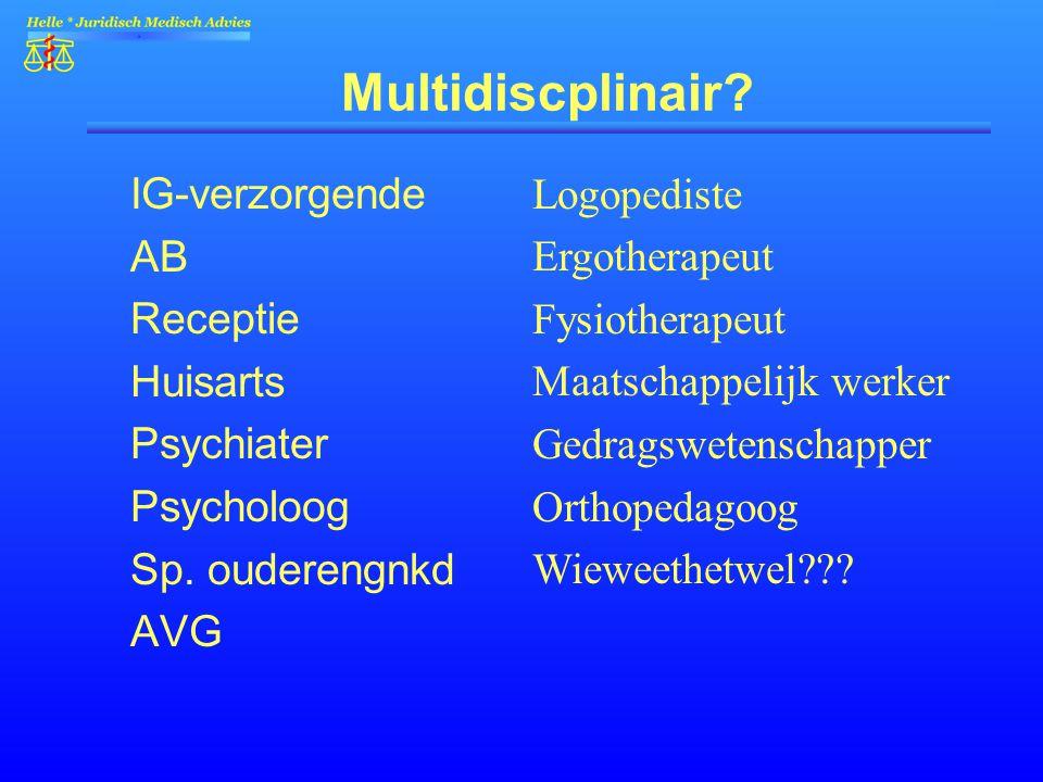 Multidiscplinair IG-verzorgende AB Receptie Huisarts Psychiater