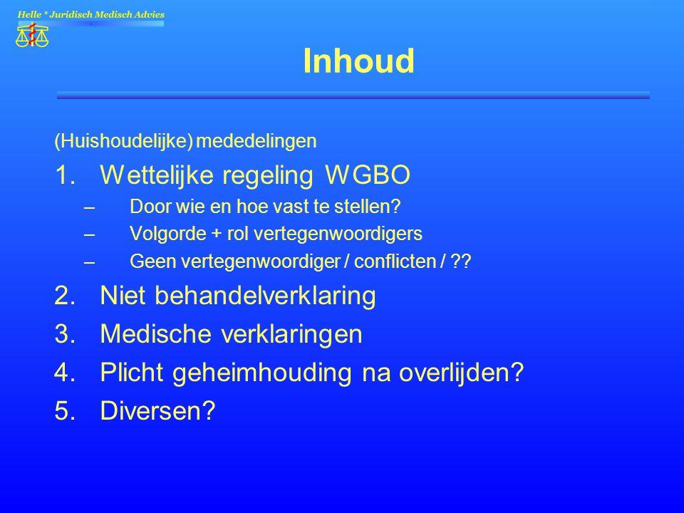 Inhoud Wettelijke regeling WGBO Niet behandelverklaring