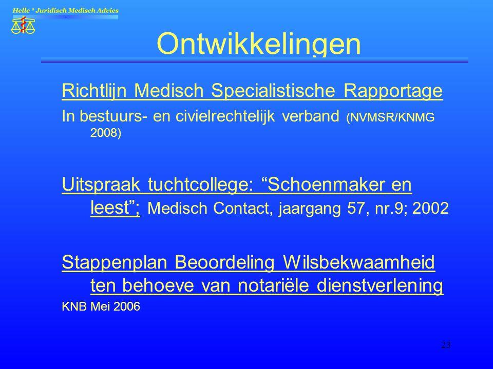 Ontwikkelingen Richtlijn Medisch Specialistische Rapportage