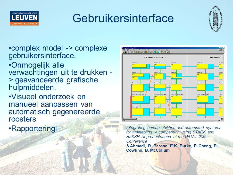 Gebruikersinterface complex model -> complexe gebruikersinterface.